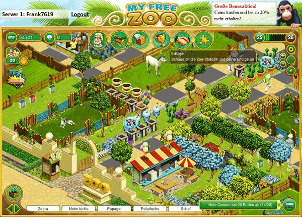 My Free Zoo Erfolge-Bereich