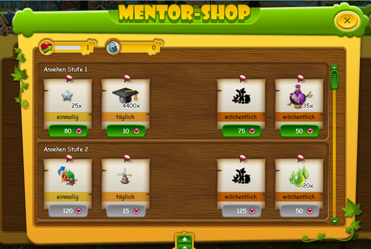 Farmerama: Mentor-Shop